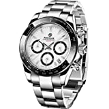 BERSIGAR Reloj multifunción para Hombre Relojes a Prueba de Agua Reloj de Pulsera con Correa de Acero Inoxidable Informal par