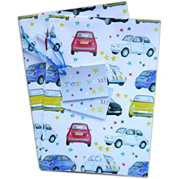 Fiat 500 car Classic and modern inspired Gift Wrapping Paper and gift tags