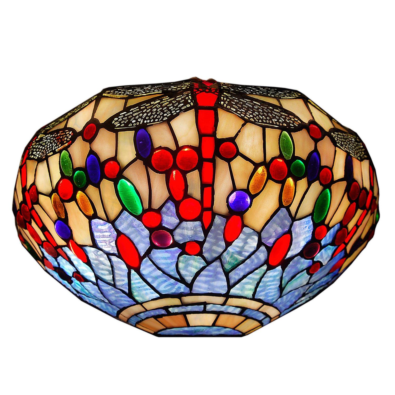 Arte dal Mondo Tiffany Appliques Dragonfly, Vetro, Multicolore, 18 x 35.5 x 18 cm