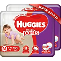 Huggies Wonder Pants, Medium (M) Size Baby Diaper Pants, 7 - 12 kg, Combo Pack of 2, 50 count Per Pack, 100 count, with…