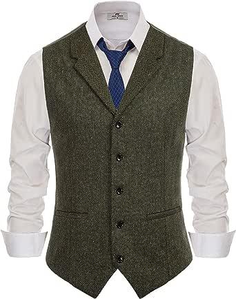 PAUL JONES Mens Herringbone Tweed Waistcoat Tailored Collar Slim Fit Suit Vest
