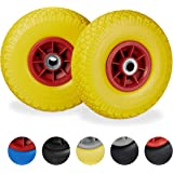 Relaxdays 2 x steekwagenwiel, lekbestendige massief rubberen banden, 3,00-4 inch, 20 mm as, tot 80 kg, 260 x 85 mm, geel-rood