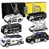 XDDIAS Coche de Policía de Juguete, 6 Pcs Aleación Modelo Camiones de Juguete, Diecast Vehículos de Policía Ambulancia Coche