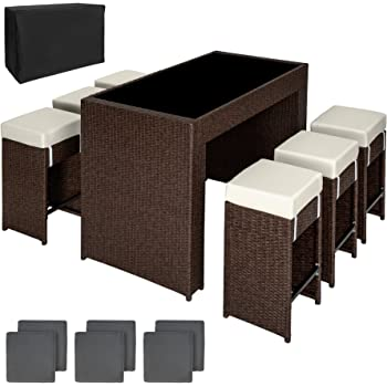 e293993a8c113 TecTake Luxury Rattan Aluminium 6 Seater Bar Set with 6 Bar Stools +  Exchanging Upholstery + Protection Slipcover (Brown Antique)