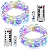 [2 Pack]Ooklee Fairy Lights USB Plug in, 10m 100 LED 8 Modes Copper Wire String Lights Remote Timer, Rainbow Twinkle…