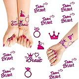 Oblique Unique® Junggesellinnenabschied temporäres Tattoo Set Braut - Team Braut Hochzeit Pink