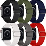 MAZTRON 6-Pack Nylon Band Compatible with Apple Watch 38mm 40mm 42mm 44mm size, Soft Light-weight Breathable Replacement Spor