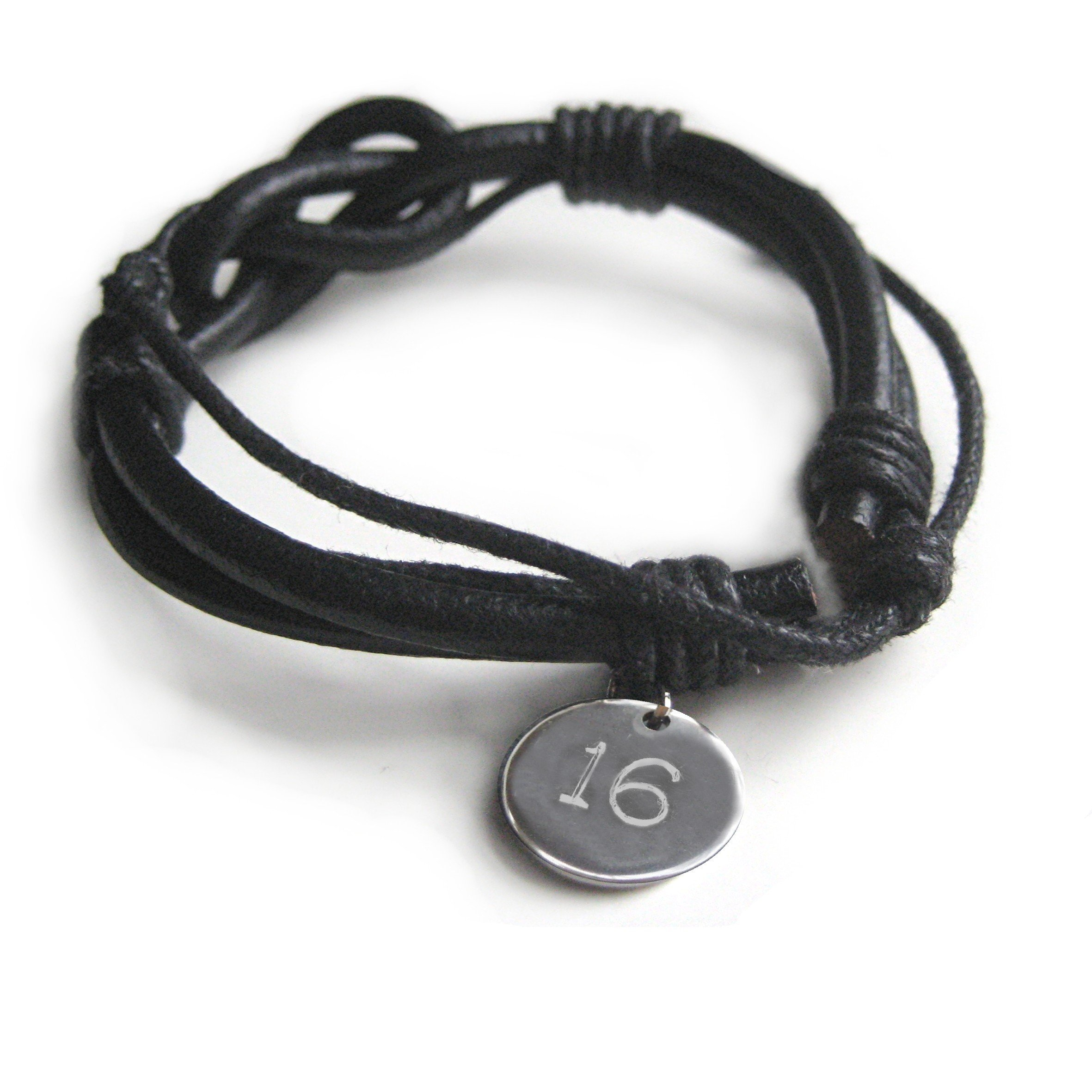 Leather Knot Bracelet – Personalised Men's Gift-Engraved-Teenage Boys 16th Birthday,18th Birthday-21st Birthday-Bar Mitzvah Gift-Valentines-Christmas-Fathers day-New Daddy-3rd wedding Anniversary