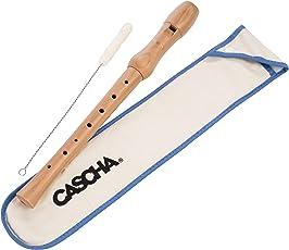 CASCHA HH 2074 Holzblockflöte aus Ahorn, Flöte für Kinder, deutsche Griffweise, Sopran-Blockflöte in C mit Flötenwischer und Tasche