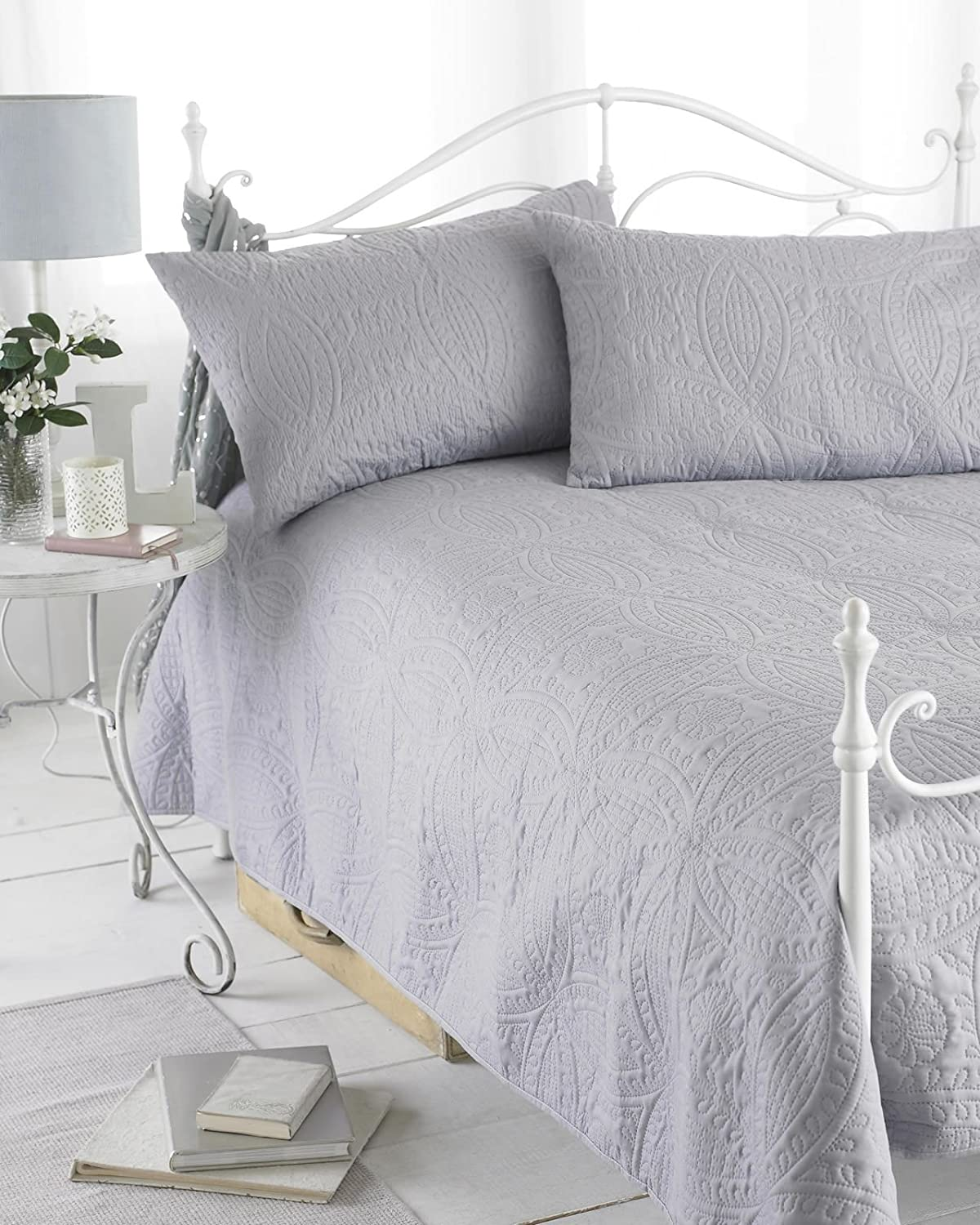 Grey Reversible Embossed Quilted Bedspread, Parisienne, Includes 2 ... : grey quilted comforter - Adamdwight.com