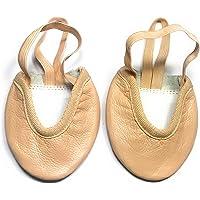 Toe Half Gymnastics Rhythmic Shoes Beige Nude Lyrical Ballet Dance Pure Leather