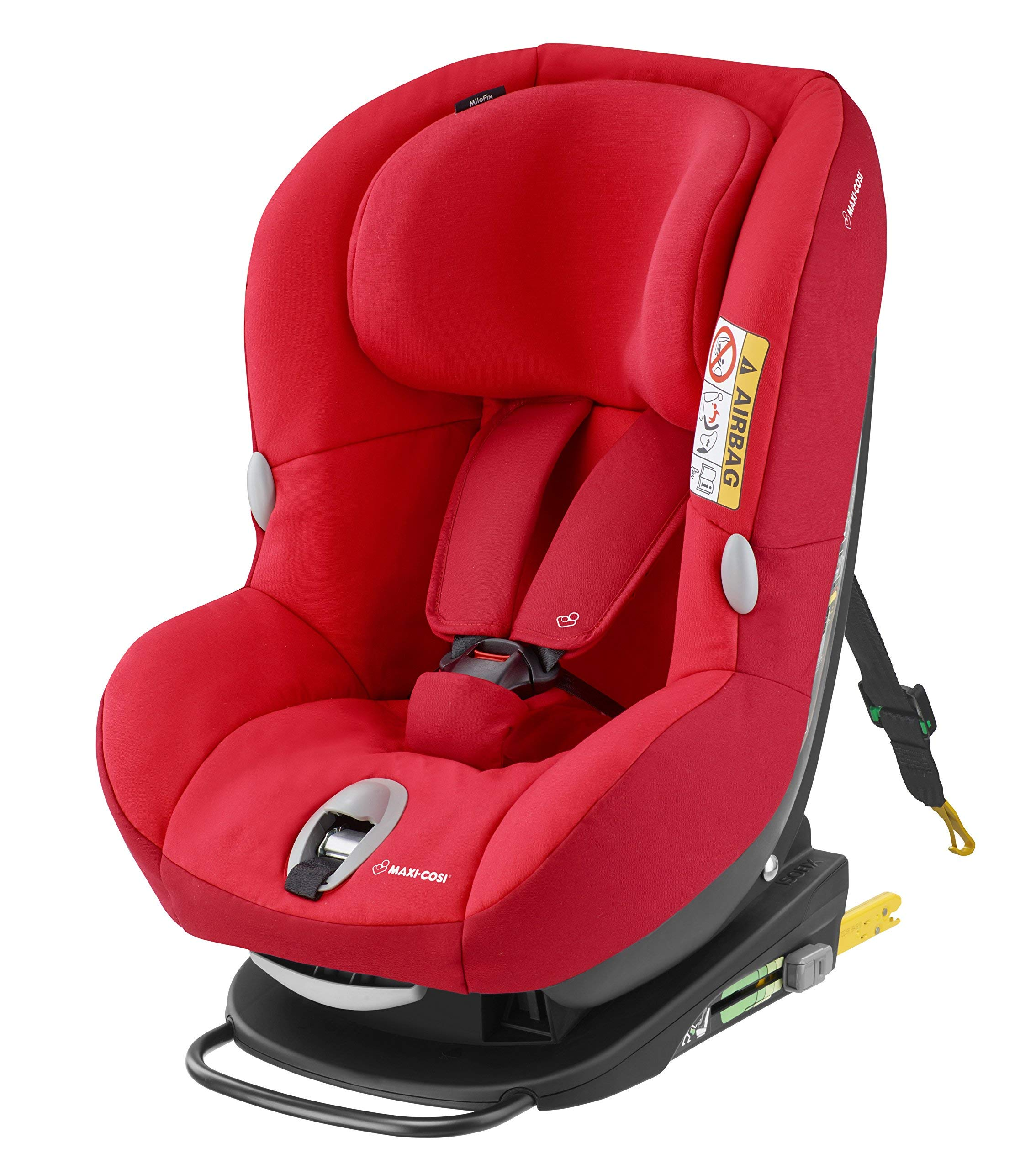 Maxi-Cosi MiloFix ISOFIX Combination Car Seat, Group 0+/1 car seat, Rear and Forward-facing, 0-4 years, 0-18 kg, Vivid Red Maxi-Cosi Rear and forward facing group 0+/1 car seat, suitable from birth to 18 kg (birth to 4 years) i-Size car seat, extended rearward-facing travel up until 18 months Padded seat and angled base provide additional leg room in rear-facing position 1
