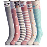 NFACE Cartoon Animal Cat Bear Fox Calcetines hasta la rodilla hasta la pantorrilla, 6 colores, talla única