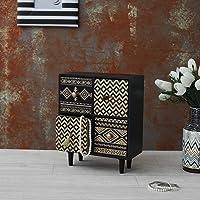 OddCroft Tribal 4-Drawer Desk Organizer, Black & Gold, Wooden (8.6 x 4.5 x 10.5 inches)