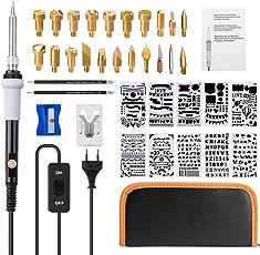 39in1 Pirografia Legno Kit&Saldatura Elettrica Kit,GOCHANGE Includere Penna a Saldare a Temperatura Regolabile, 28 Punte Legna Saldatura,5 Punte di Riparazione Saldatura ed Altro Accessorio