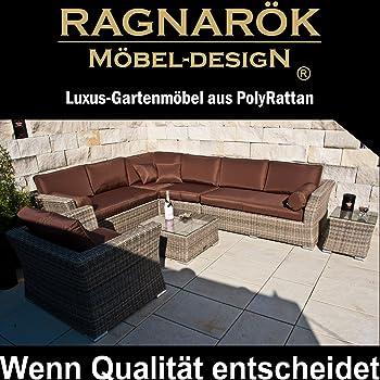 Ragnarök-Möbeldesign PolyRattan Lounge - Deutsche Marke - eigene Produktion - 8 Jahre Garantie auf UV Beständig - Garten Möbel Natur-Farben H Rundrattan Gartenmöbel Alu