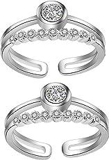 Om Jewells Rhodium Plated Cz Stones Studded Adjustable Toe Ring for Women