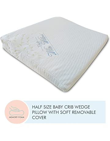 The White Willow Baby Crib Half Wedge Pillow Used Under Mattress for Acid Reflux, Colic, Anti Vomiting Special High Inclined Design with Washable & Removable Soft Pillow Cover