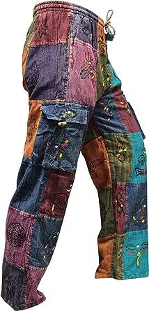 SHOPOHOLIC FASHION Acidwashed Unisex Patchwork Summer Festival Hippy Trouser