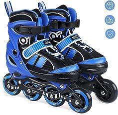INTEY Inline Skates für Kinder, Verstellbare Inline Skating Geeignet für Alles Kinder, 3 Größe, Blau