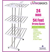 LivingBasics® Heavy Duty Rust-Free Stainless Steel Foldable Storage Double Pole Cloth Drying Stand/Clothes Dryer Stands/Laundry Racks with Wheels for Indoor/Outdoor/Balcony (Snow White)