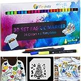 Marcadores textiles, Flyqiuty Conjunto 30 Marcadores de tela y textiles Sin sangrado No tóxico marcador de tela Permanente y