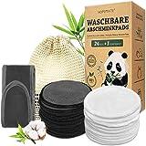 24 Pcs Coton Demaquillant Lavable, Réutilisable Tampons Démaquillants Fibre de Bambou, Lingette Demaquillante Lavable Biologi