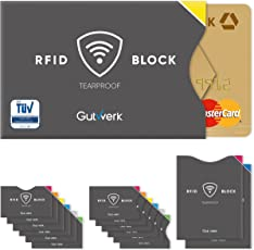 TÜV geprüfte RFID Schutzhüllen reißfest [14 Stück] - 100% Schutz - NFC Blocking für Kreditkarten, EC Karte, Personalausweis, Reisepass | Schutzhülle | RFID Blocker | Kreditkartenhülle
