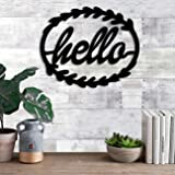 Art Street Hello MDF Plaque Painted Cutout Ready to Hang Home Décor, Wall Décor, Wall Art