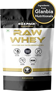 Six Pack Nutrition Raw Whey Protein Powder Unflavoured Whey Protein Concentrate 80% -24 g Protein, 5.4 g BCAA,4 g Glutamic Ac