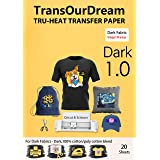 TransOurDream Tru-Heat Transfer Paper for Dark T Shirts & Fabrics 20 Sheets A4 Iron On Transfer Paper with Inkjet Printer Eas