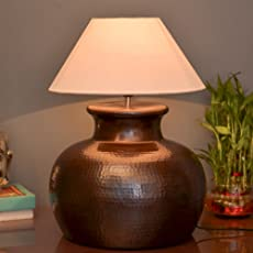 Homesake Antique Copper Hammered Pitcher Table Lamp with White Shade