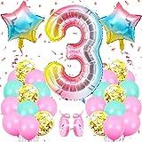 Ballon Anniversaire 3 Ans, Rose Numéro Ballon 3, Géant Rose Helium Ballons 3, Rose Ballon Chiffre 3, Mariage Fête d'anniversa