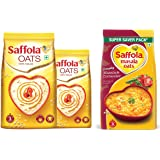 Saffola Oats, 1 kg with Free Saffola Oats 400 gm + Saffola Masala Oats Masala and Coriander, 500g