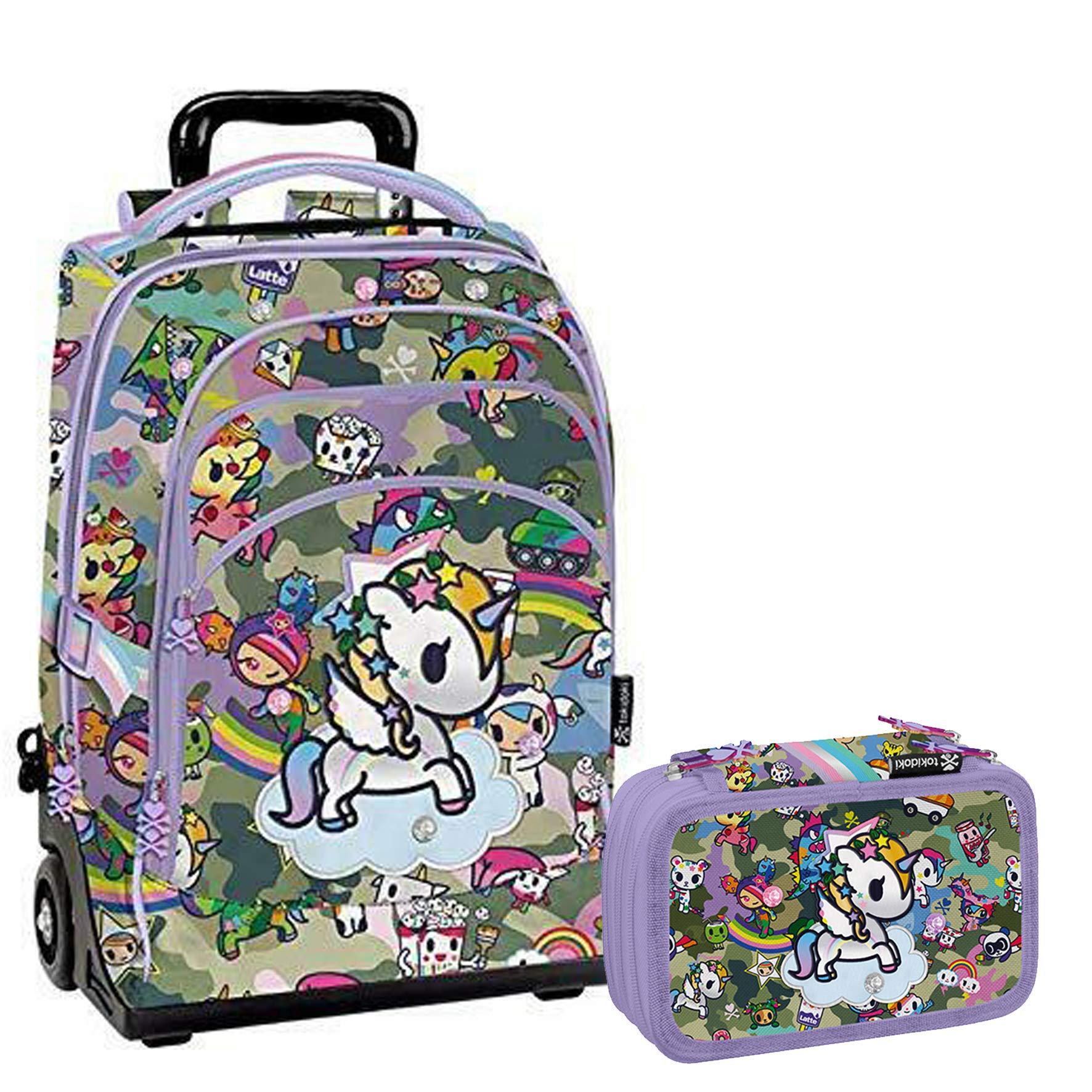 metà fuori dc1c9 879e6 Tokidoki Unicorno Schoolpack Zaino Trolley + Astuccio 3 zip ...