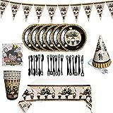 BlinBlin - Set da tavola per feste di compleanno di Harry Potter, 48 pezzi, ecologico, usa e getta, 6 articoli per feste per