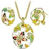 Kami Idea Donna Gioielli Collana Orecchini Set, Primavera di Versailles Smalto a Farfalla Cristalli di Preciosa, Regalo di Na