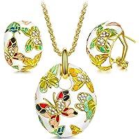 Kami Idea Donna Gioielli Collana Orecchini Set, Primavera di Versailles Smalto a Farfalla Cristalli di Preciosa, Regalo…
