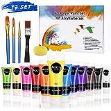 RATEL Zestaw farb akrylowych, Premium kolorowa farba akrylowa z 12 x 75 ml pigmentu + 1 gąbka + 1 płaska szczotka + 3 pędzle