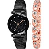 Acnos Women's Branded Black Magnet Analogue Watch With Fre Gift Rosegold Bracelet And Gift Box And Watch, Multicolour
