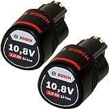 2 x Bosch 10,8V 2 Ah / 2000 mAh Lithium-Ion Professional Akku 2607336879