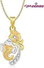 Meenaz In American Diamond Cz Jewellery Ganapati Pendant With Chain & Lockets For Men Women Gp213