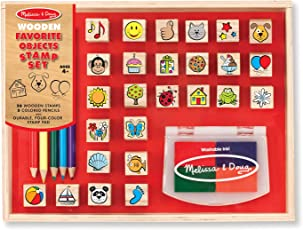 Melissa & Doug Wooden Favorite Things Stamp Set, Multi Color
