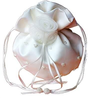 LadyMYP© Edeler Brautbeutel, Brauthandtasche mit Perlen & Organza-Blumen, Hochzeit, Kommunion, weiß/Ivory, ca. 16 * 22cm