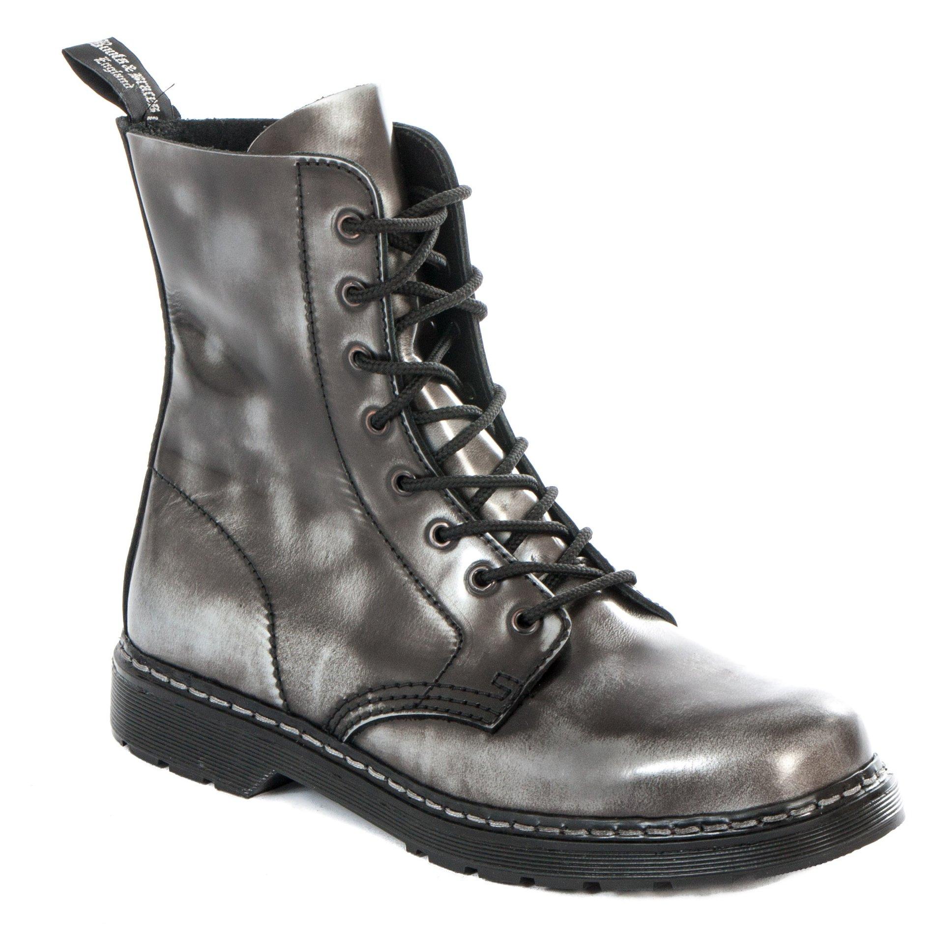 Boots & Braces Easy 8 Loch Silver Rub Off schwarz Stiefel Rangers Schwarz