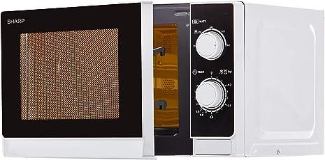 Sharp R200INW Mikrowelle / 20 L Garraum / Silber / 800 W/ Timer / Gewicht- und zeitgesteuertes Auftauen
