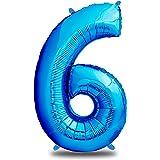 envami Globos de Cumpleãnos 6 Azul I 101 CM Globo 6 Años I Globo Numero 6 I Decoracion 6 Cumpleaños Niño I Globos Numeros Gig