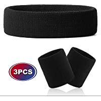 VENI MASEE Sweatband Set - Sports Headband - Wrist Striped Sweatbands - Terry Cloth Wristband - Athletic Exercise…