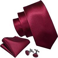 Barry.Wang Men Ties Plain,Solid Colors Handkerchief and Cufflink Necktie Set Formal Wedding Business
