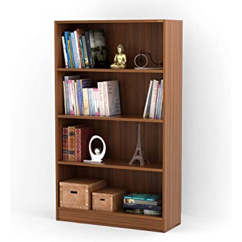 Bluewud Alex Wall Book Shelf Home Decor Display Storage Rack Cabinet Unit Walnut 4 Shelves 528x315